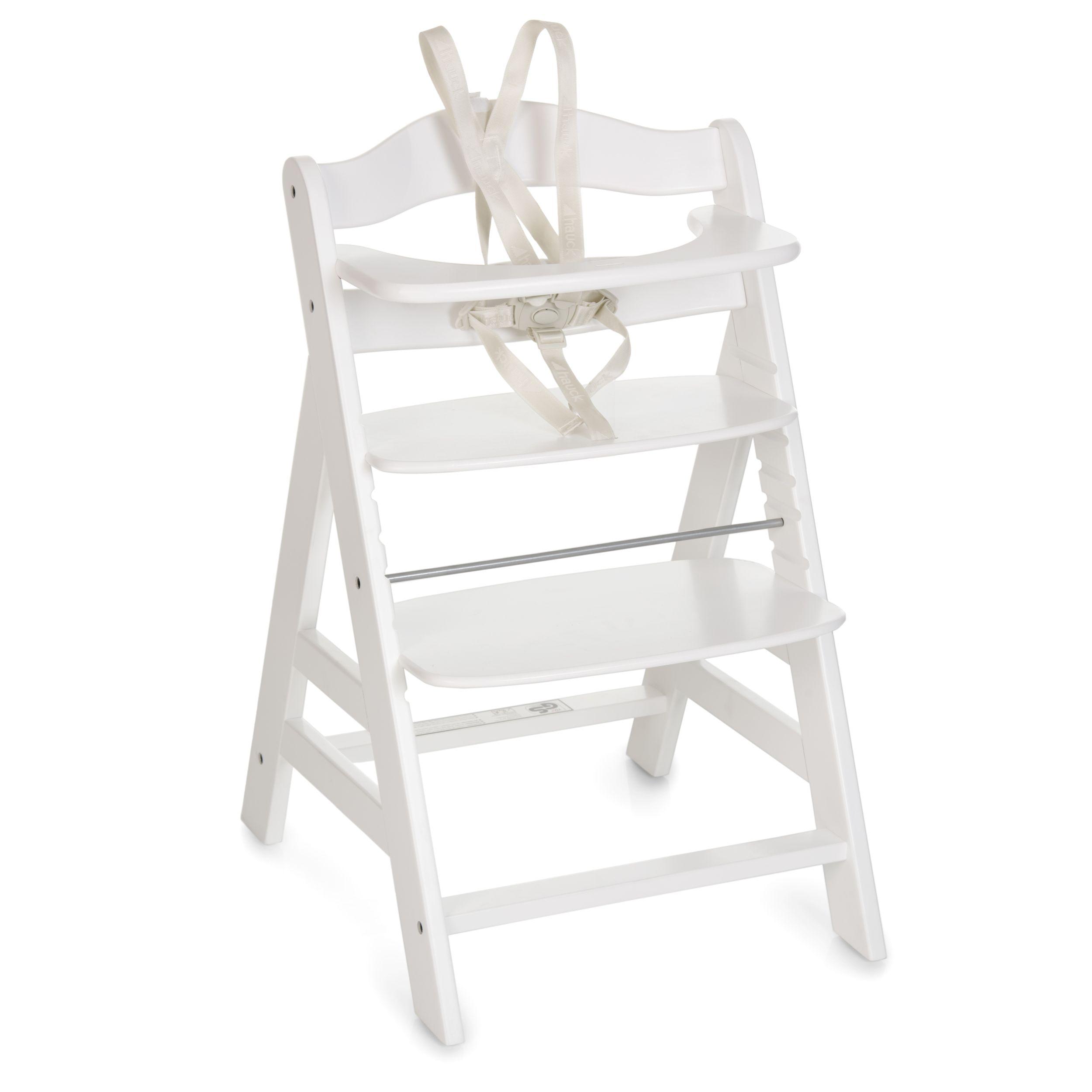 Hauck Alpha + koka barošanas krēsls - White