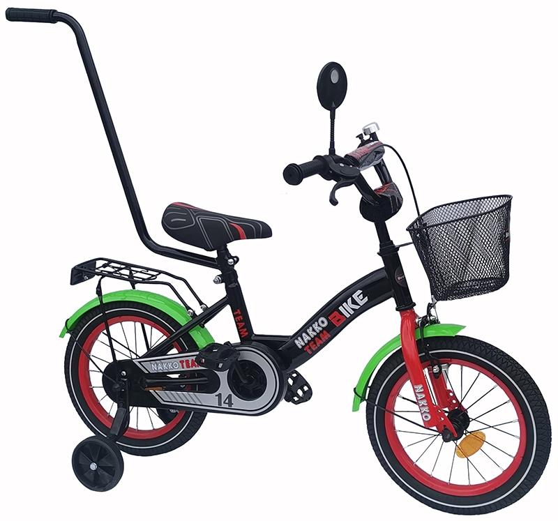 NAKKO TEAM BIKE bērnu velosipēds 14 collu riepām MELNS-SARKANS-ZAĻŠ